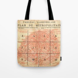 Vintage Paris City Centre Map Tote Bag