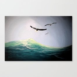 Seaguls Soaring with the Ocean Waves Canvas Print