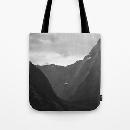 Flight entering Milford Sound New Zealand South Island Tote Bag