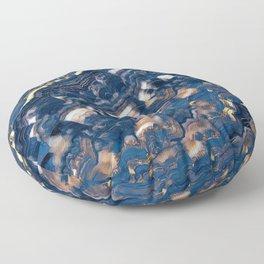 Blue marble with Golden streaks Floor Pillow