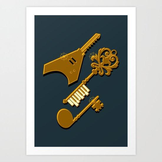 keys of musical (Gold ver.) Art Print