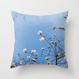 First to Bloom - Magnolia Flower Photography Throw Pillow