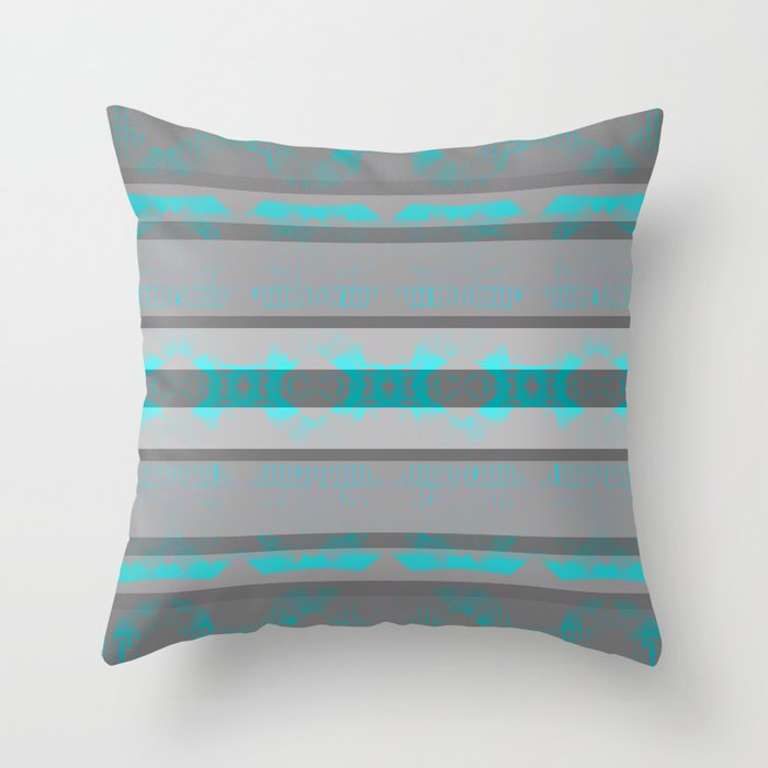 Southwestern Turquoise and Gray Throw Pillow by lauragordon | Society6