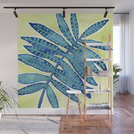 Blue Fern Wall Mural