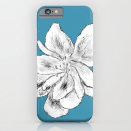Sketchy Malva Flower Drawing (blue back) iPhone Case