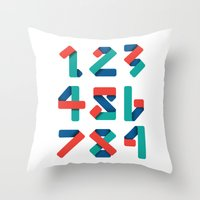 number Throw Pillows featuring Number by Steven Toang