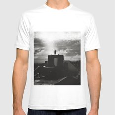 Nothing between me SMALL White Mens Fitted Tee