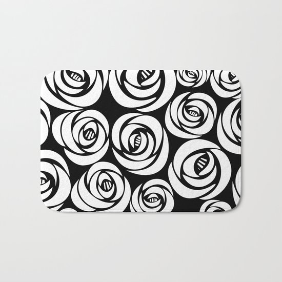 black background with white flowers Bath Mat