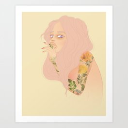 Spring portrait of a girl with pastel pink girl and floral tattoos Art Print