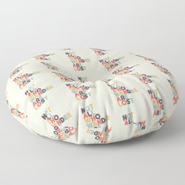 Not All Who Wander Are Lost Typography - Retro Rainbow Floor Pillow