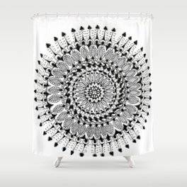 Black and White Floral Mandala Shower Curtain