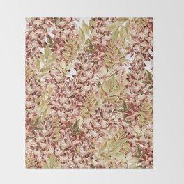 Vintage boho mauve pink dusty green floral Throw Blanket