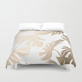 Simply Tropical Palm Leaves in White Gold Sands Duvet Cover