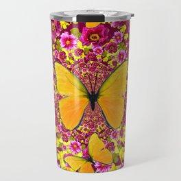 GARDEN FLOWERS & YELLOW BUTTERFLIES Travel Mug