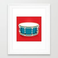 drum Framed Art Prints featuring Drum - Red by Ornaart