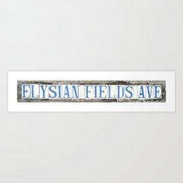 Elysian Fields Ave Street Tile Art New Orleans Louisiana French Quarter Vintage Letters Typography Art Print