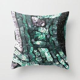 Green Silver Black SEquin Throw Pillow