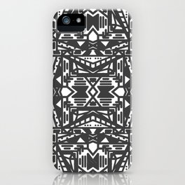 Black and White Aztec Pattern iPhone Case