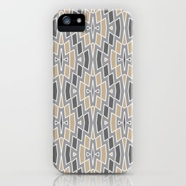 Tribal Diamond Pattern in Gray and Tan iPhone Case