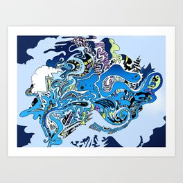 Swimming in the mind Art Print