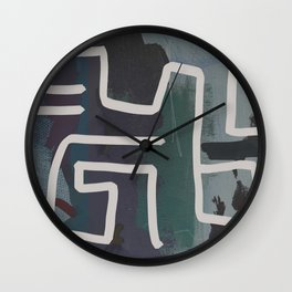 Muted Blue and Green Painting with Abstract White Line Wall Clock