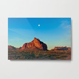 Moonset over Courthouse Rock in Harquahala Valley Arizona Metal Print