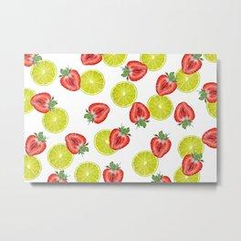 Strawberry Lime Lemon pattern white Metal Print