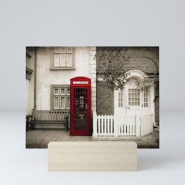 Red Telephone Booth Sepia Spot Color Photography Mini Art Print