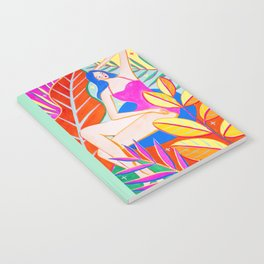 Girl and Colorful Leaves Notebook