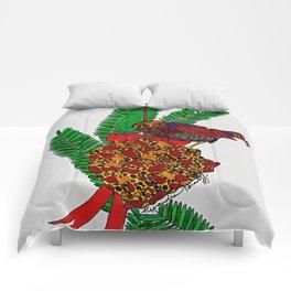 Little Bird In Evergreen Boughs Comforters