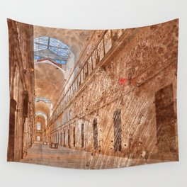 Battered Prison Corridor Wall Tapestry