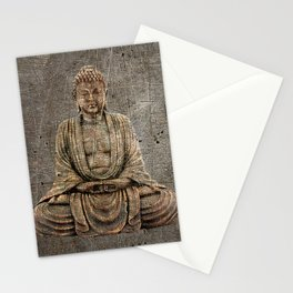 Sitting Buddha On Distressed Metal Background Stationery Cards