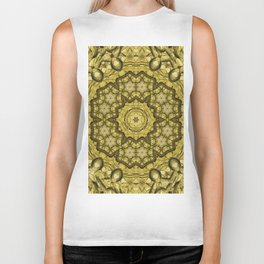 abstract massed wattle mandala in yellow Biker Tank