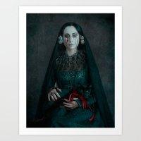 black widow Art Prints featuring Black Widow by Maria Kanevskaya