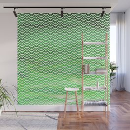 St. Patrick's Day Watercolor Seigaiha Pattern Wall Mural
