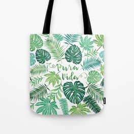 Tropical Pura Vida Palm Leaves and Monstera Watercolor Tote Bag