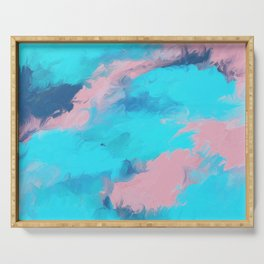 Modern abstract teal pink paint brushstrokes Serving Tray