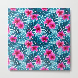 Tropical Hibiscus Pattern Pink Metal Print