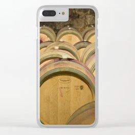 Oak Barrels In Wine Cellar Clear iPhone Case