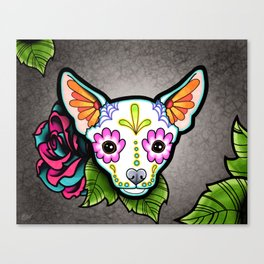 Chihuahua in White - Day of the Dead Sugar Skull Dog Canvas Print