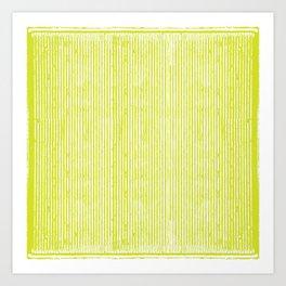 Neon Yellow Telephono Stripes Art Print