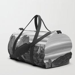 Garden of the Gods - Colorado Springs Landscape in Black and White Duffle Bag