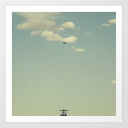 Airplane, Telephone Pole Arrangement Art Print