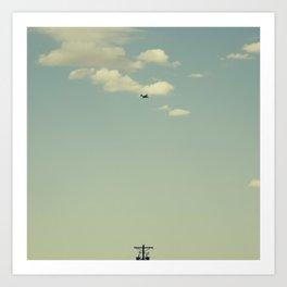 Airplane, Telephone Pole Arrangement Art Print