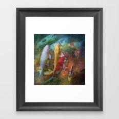 A swirl of Koi Framed Art Print