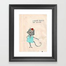 Hipster cat blogger Framed Art Print