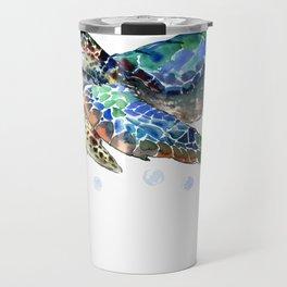 Sea Turtle, Green Blue, sea turtle under water, sky blue Travel Mug
