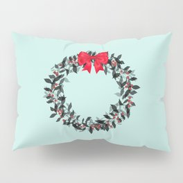 Christmas Wreath with Red Bow #Christmas #holidays Pillow Sham
