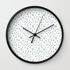 blue lily subtle pattern Wall Clock