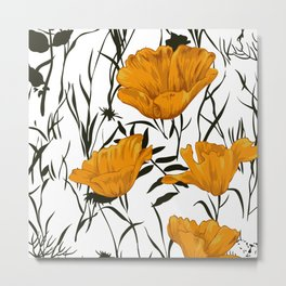 Flowers, Poppies, Floral Prints, Yellow, Black and White Art Metal Print